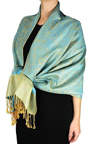 Turquoise and Gold Vintage Two Color Jacquard Paisley Shawl Pashmina Wrap