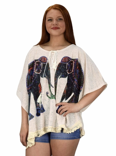 Beige Elephant Print Tasseled Light weight Summer Cover Up Cardigan