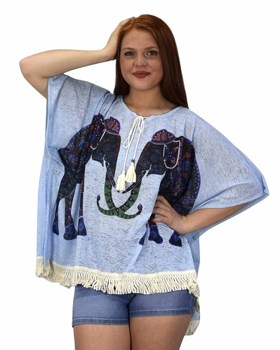 Blue Print Tasseled Light weight Summer Cover Up Cardigan