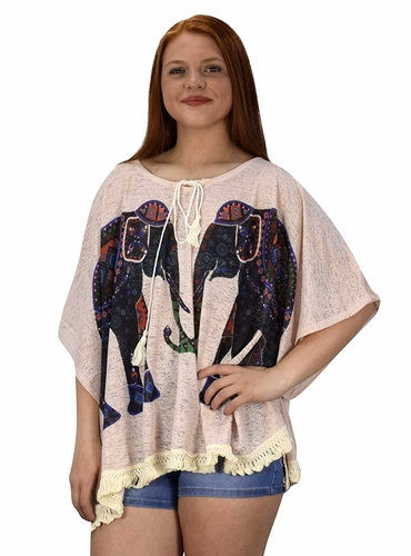 Pink Elephant Print Tasseled Light weight Summer Cover Up Cardigan