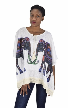 Peach Couture Elephant Print Tasseled Light weight Summer Cover Up Cardigan White