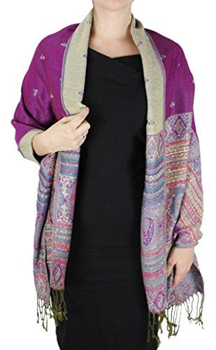 Ethnic Design Tribal Border Reversible Bohemian Pashmina Shawl