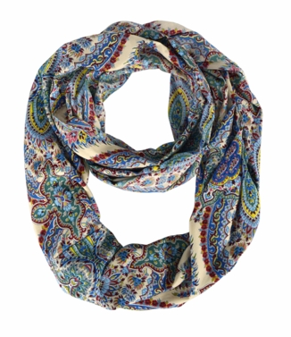 Blue Beige Colorful Rainbow Paisley Print Infinity Loop Scarf