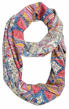 Exclusive Colorful Rainbow Paisley Print Infinity Loop Scarf (Coral Beige)