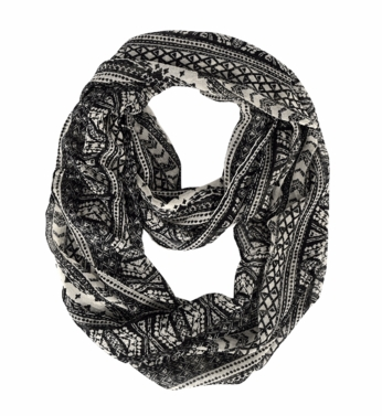 Black White Exotic Aztec Tribal Print Infinity Loop Wrap Scarf