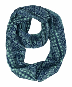 Green Navy Exotic Aztec Tribal Print Infinity Loop Wrap Scarf