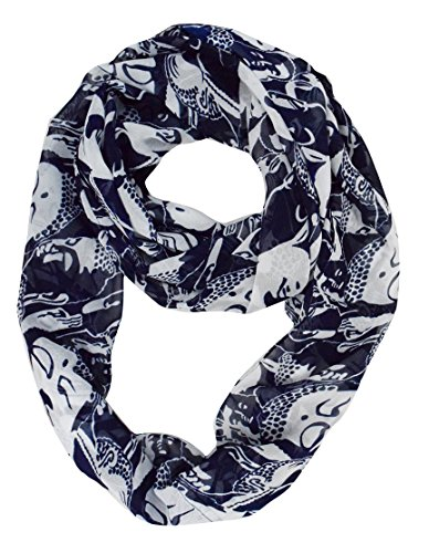 Exclusive Fun and Cute Variety of Prints Infinity Loop Scarves (Navy Buddha)