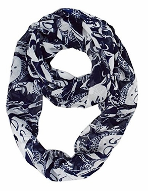 Navy Buddha Prints Infinity Loop Scarves
