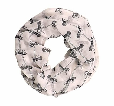 Off White Horse Prints Infinity Loop Scarves