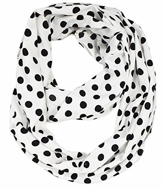 White Polka Prints Infinity Loop Scarves