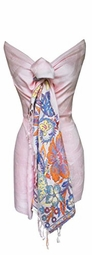 Exclusive Paisley Floral Border Reversible Pashmina Wrap Shawl (Light Pink)