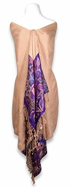 High Grade 4 Ply Reversible Paisley Pashmina Hand Made Shawl (Tan)