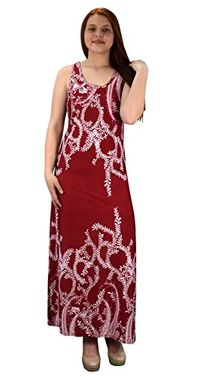Burgundy Paisley Print Sleeveless Scoop Neck Beach Maxi Dress L