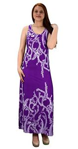 Purple Paisley Print Sleeveless Scoop Neck Beach Maxi Dress