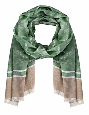Emerald Silky Shiny Tribal Paisley Printed Fringe Scarf (One Size)