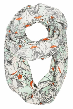 Mint Vintage Floral Prints Infinity Loop Scarves Light Scarf