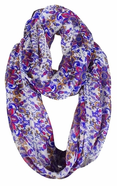 Purple Sheer Vintage Floral Prints Infinity Loop Scarves Scarf