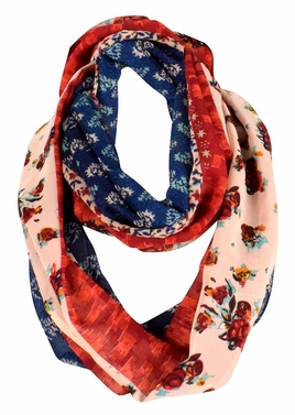 Tan Red Vintage Floral Prints Infinity Loop Scarves Scarf