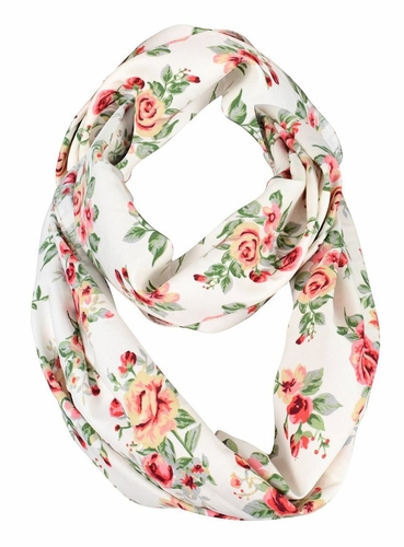 Exclusive Vintage Floral Prints Infinity Loop Scarves Light Scarf (White Rose)