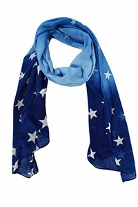 Exclusive Womens Vibrant Patriotic Fading Star Print Light Scarf (Blue)
