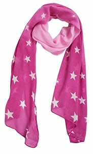 Pink Patriotic Fading Star Print Light Scarf