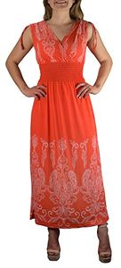 Exotic Tahiti Damask Border Print Maxi Dress Large