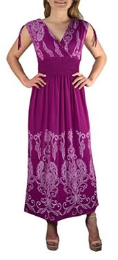 Magenta White Exotic Tahiti Damask Border Print Maxi Dress Medium