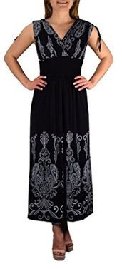 Black White Tahiti Damask Border Print Maxi Dress (Small)