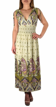 Cream Olive Paisley Tahiti Multi Color Border Print Maxi Dress