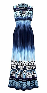 Blue Tahiti Multicolor Tie Dye Border Print Maxi Dress (Medium)