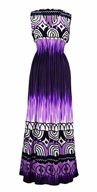 Tie-Dye Purple Tahiti Multicolor Tie Dye Border Print Maxi Dress (Small)