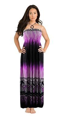 Exotic Tie Dye Self Tie Halter Vacation Maxi Dress (Multi-Color)
