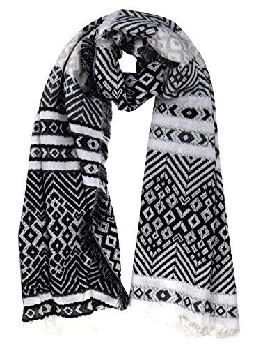 Fair Isle Print Wrap Around Christmas Blanket Scarf Shawl Chevron