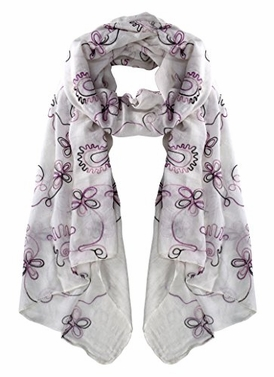 White Embroidered Sheer Floral Scarf Wrap Shawl