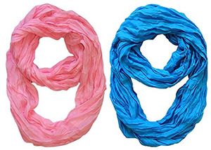 Peach Couture Fashion Lightweight Crinkled Infinity Loop Scarf 2 Pack Baby Pink and Blue