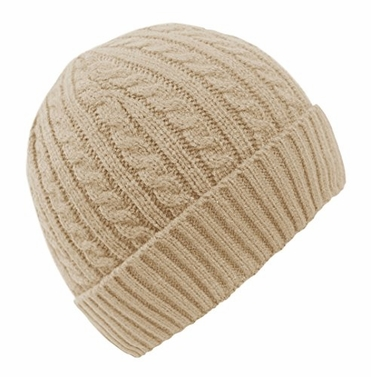 Beige Unisex Thick Warm Twisted Cable Knit Winter Beanie Cap Hat