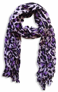 Fashionable Women's Leopard Animal Print Crinkle Scarf Wrap (Purple)