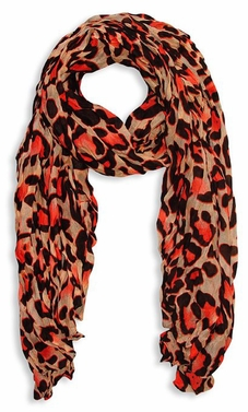 Women's Leopard Animal Print Crinkle Scarf Wrap (Salmon)