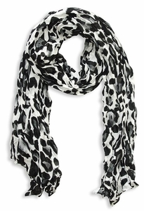 Fashionable Women's Leopard Animal Print Crinkle Scarf Wrap (White)