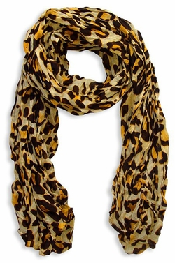 Women's Leopard Animal Print Crinkle Scarf Wrap (Yellow)