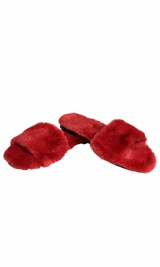 Red Faux Fur Women's Indoor Outdoor House Slippers