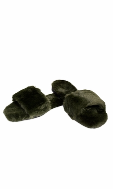 Hunter Green Faux Fur Women's Indoor Outdoor House Slippers