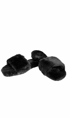 Black Faux Fur Women's Indoor Outdoor House Slippers