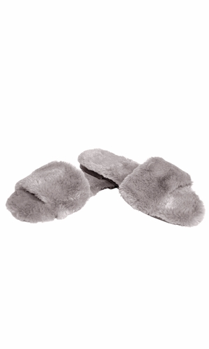 Grey Faux Fur Women's Indoor Outdoor House Slippers
