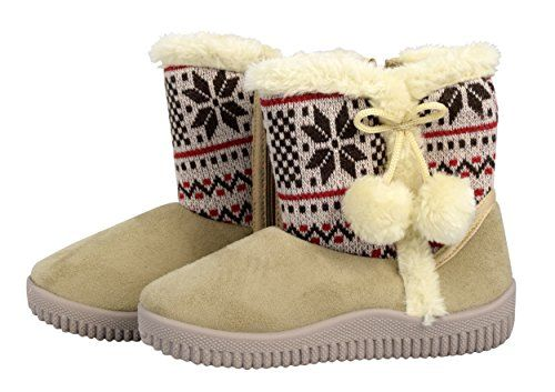 Beige Faux Suede Fleece Lined Snowflake Kids Winter Snow Shearling Boots
