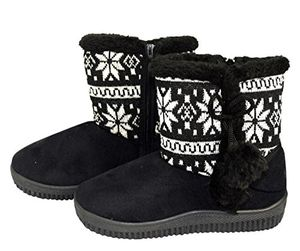 Black Faux Suede Fleece Lined Snowflake Kids Winter Snow Shearling Boots