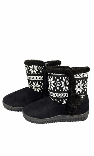 Peach Couture Faux Suede Fleece Lined Snowflake Kids Winter Snow Shearling Boots Black