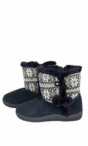 Navy Faux Suede Fleece Lined Snowflake Kids Winter Snow Shearling Boots