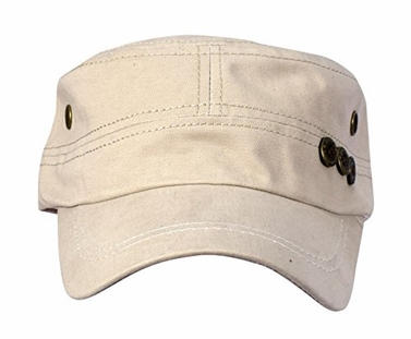 Tan Flat Top Twill Corps Adjustable Military Cadet Hats