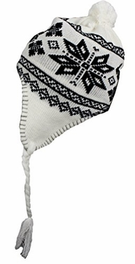 White Fleece Lined Tribal Snowflake Knit Kids Trooper Trapper Winter Hat (One Size)